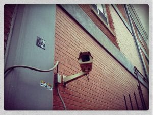 image shows surveillance camera to illustrate landlord tech