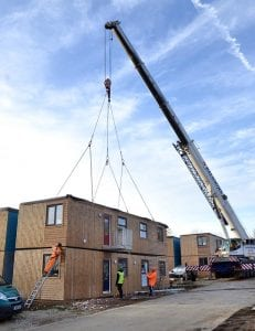 Image shows modular house under construction