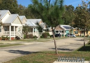 photo shows a row of pastel-colored cottages in the sunshine, to accompany an article about design for healthy affordable housing