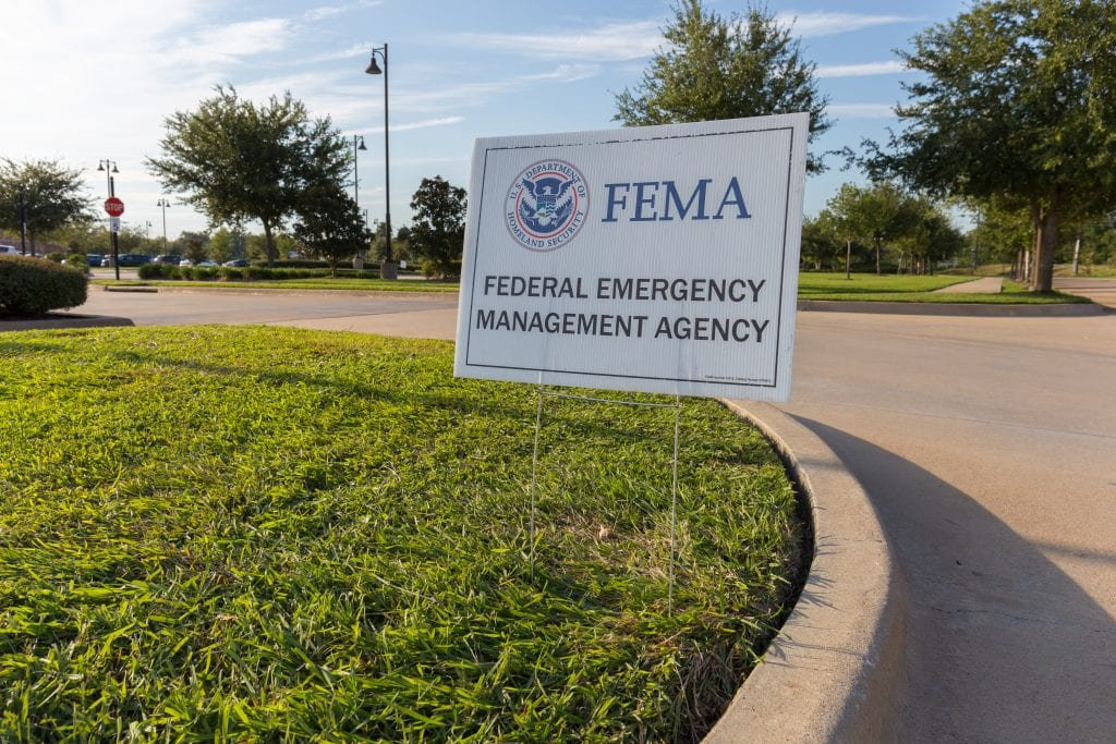 A FEMA sign posted outside the hurricane Harvey disaster recovery center.