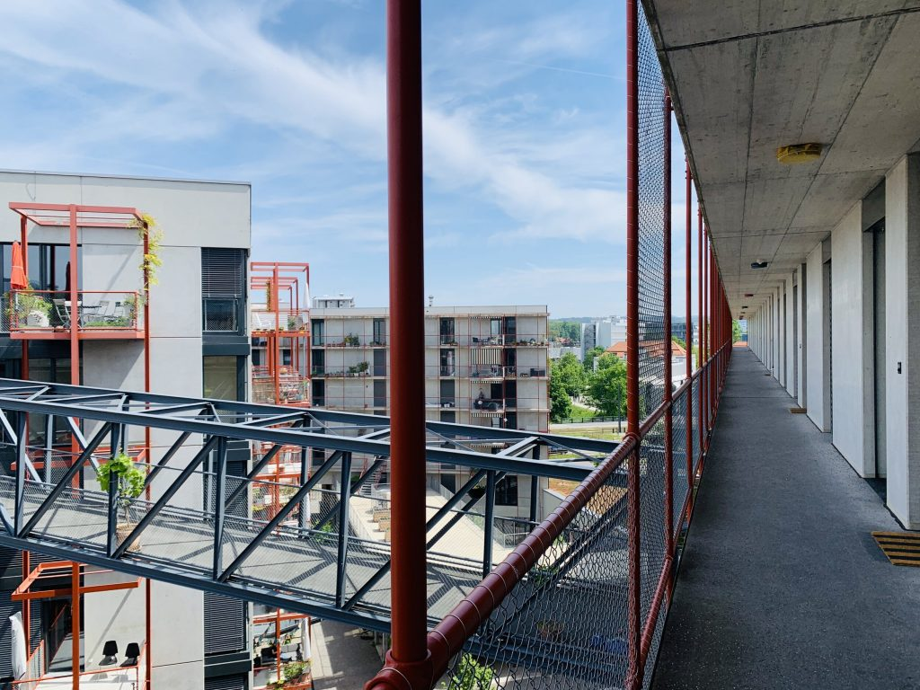 View from outdoor gallery on an upper floor at Zwicky Zud, a nonprofit cooperative in Zurich.