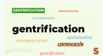 An image with the word gentrification over and over again in different fonts and colors.
